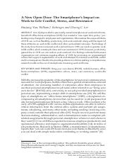 A New Open Door-The Smartphone_s Impact on work-to-Life Conflict, Stress, and Resistance