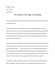 The Lady or The Tiger- the Ending