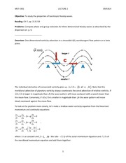 Lecture 2A on Rossby Waves