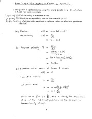 Exam 1 Solution Spring 2006 on Physics 1 Honors with Mechanics