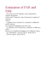 Estimation of FAR and FRR