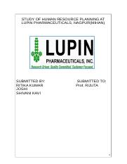 HUMAN RESOURCE PLANNING AT LUPIN PHARMACEUTICALS