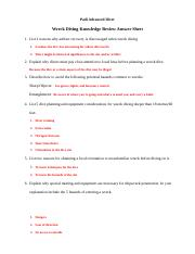 Wreck Diver Knowledge Review (Answer Sheet).odt