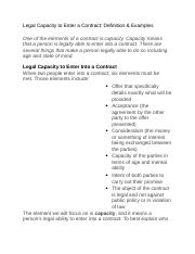 Legal Capacity to Enter a Contract Contract Law.docx