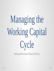 Managing the Working Capital Cycle