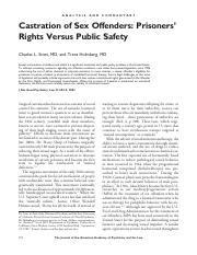 Castration of Sex Offenders - Prisoners' Rights Versus Public Safety