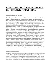 EFFECT OF INDUS WATER TREATY ON ECONOMY OF PAKISTAN