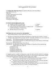 Review questions for Ch. 14