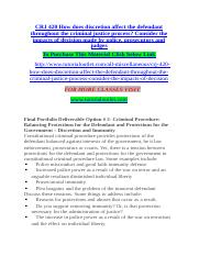 CRJ 420 How does discretion affect the defendant throughout the criminal justice process.docx