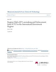 Regime Shift of IP Lawmaking and Enforcement from WTO to the Inte.pdf