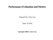 Performance Evaluation and Metrics