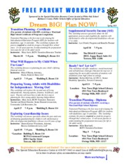 2015 Spring -Free Parent Workshops