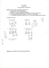 MATH 0309 SOLVING EQUATIONS WITH FRACTIONS WORKSHEET