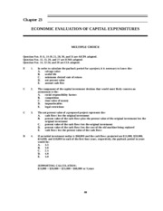23 Economic Evaluation of Capital Expenditure