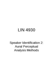 Lecture 10 Speaker Identification 2