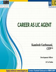 Career as LIC Agent .pps