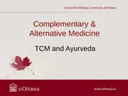 TCM and Ayurveda - Fall 2013