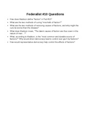 Federalist 10 Questions