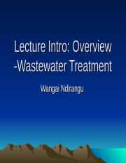 Lecture  2016 overview wastewater treatment