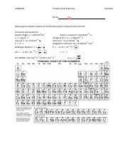 CHEM 105 Final Exam Answer Key