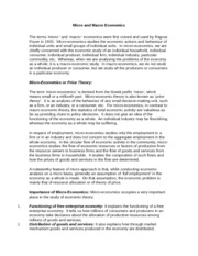 report for micro and macro theory Micro & macro economics 1 department of research & management presentation to : by : mrs sundhaya madam mr girish gilda mba 1 st sem.