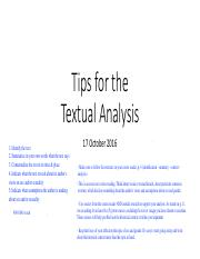 Tips for the Textual Analysis