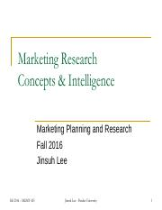 Session 2 - Marketing Research Concepts and Intelligence