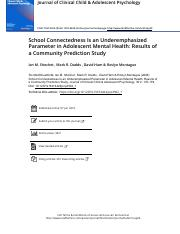 School Connectedness Is an Underemphasized Parameter in Adolescent Mental Health- Results of a Commu
