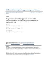 Regionalisation and Singapores Transborder Industrialisation_ A
