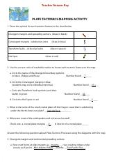 Plate Tectonics Mapping Activity Plate Tectonics Activity   Teacher Answer Key PLATE TECTONICS