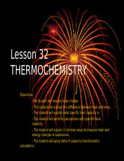 Chemistry Lesson 32 THERMOCHEMISTRY.ppt