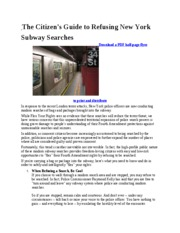 Refusing Subway Searches