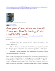 Goodyear Cheap Valuation, Low Oil Prices, And New Technology Could Lead To 50% Upside