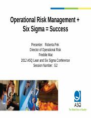 ASQ0511-201204OperationalRiskManagementPlusSixSigmaEqualsSuccess (1)