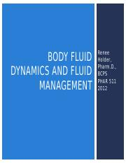 PHAR 511 - Day 2 - Fluid Management