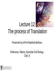 SCIE1106 Lec 12 Translation  2 2014