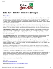 Sales Tips - Effective Transition Strategies