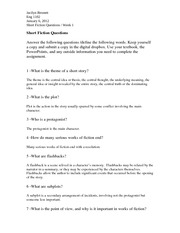 Short Fiction Questions - Jacilyn Bennett ENG 1102