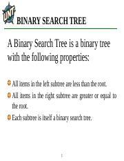 Binary Search Tree ppt - BINARY SEARCH TREE A Binary Search