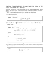 Final Exam Solutions 2011