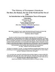 Tuesday Syllabus European Literature