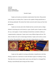 Carpet Finish Research Paper