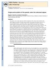 Origin and evolution of the genetic code- the universal enigma.pdf