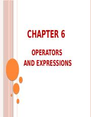 Ch 6_Operators and Expressions