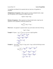 5.6 Laws of Logarithms