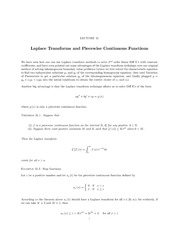 Lecture 31 Laplace Transforms and Piecewise Continuous Functions