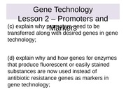Genetics Lesson 2 - Promoters and markers.