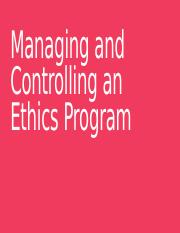 Managing and Controlling an Ethics Program