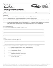 Quiz 8   Activity Quiz 8 Food Safety Management Systems Name Date True Or  False 1 Active Managerial Control Focuses On Managing The Risk Factors For  Food Safety Quiz