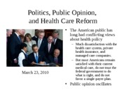 Lecture 6 -- Health Care Reform(1)